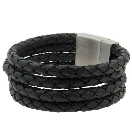 Leren heren armband Four Black