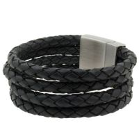 Leren heren armband model Four Black