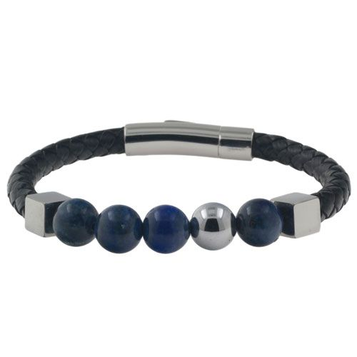 Leren heren armband model Onga