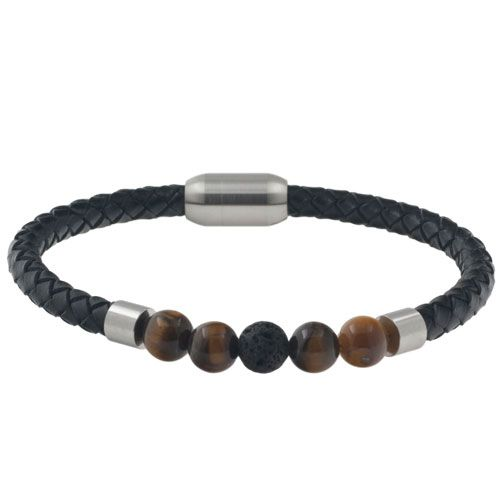 Leren heren armband model Poc