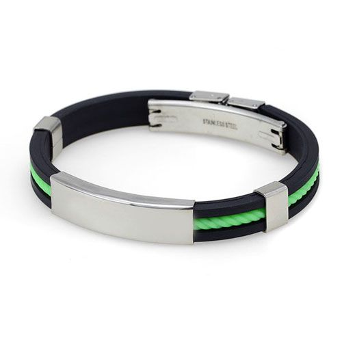Rubberen heren armband model Green Cord