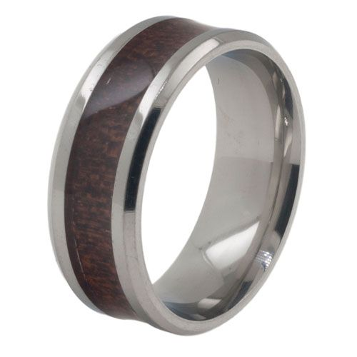 Titanium heren ring model Donker Hout