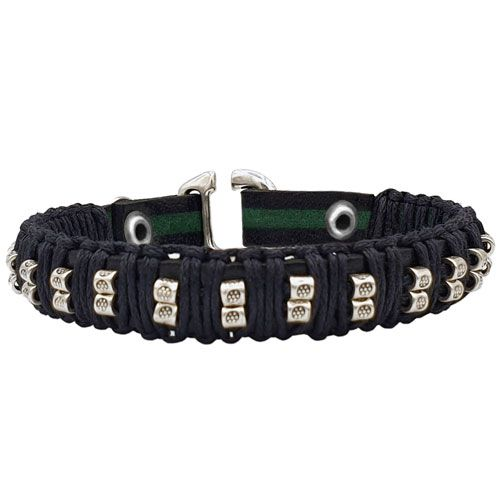 Taboo leren armband Ties Black/Green