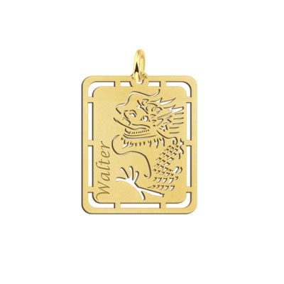 Names4ever gouden hanger Chinese draak